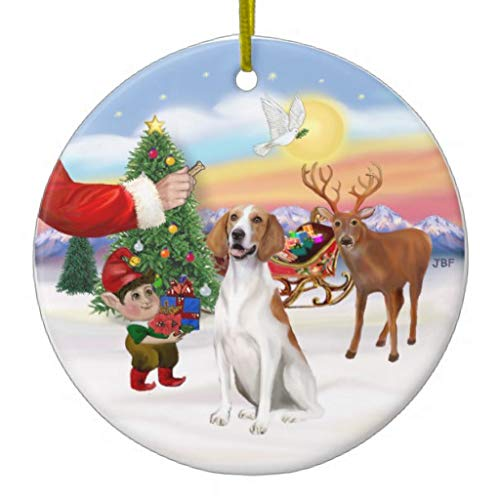 American Foxhound Christmas Ornament - Pattebom Treat for an American Fox Hound Ceramic Christmas Ornaments 2018 Keepsake for Christmas Decorations,Tree Decor,3 Inches