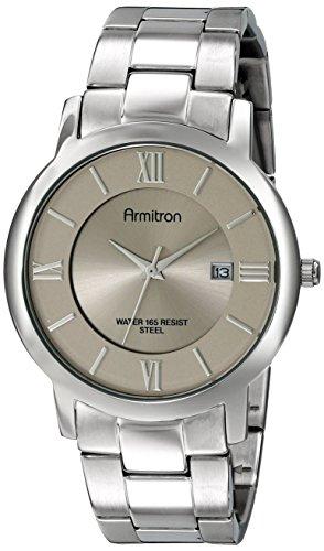 Armitron Men's 20/4986GYSV Date Function Silver-Tone Bracelet Watch