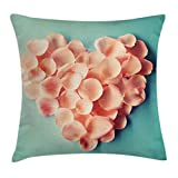 Coral Throw Pillow Cushion Cover by Ambesonne, Heart Shaped Floral Petals Valentines Mothers and Wedding Day Sweet Still Life Icon, Decorative Square Accent Pillow Case, 20 X 20 Inches, Peach Mint
