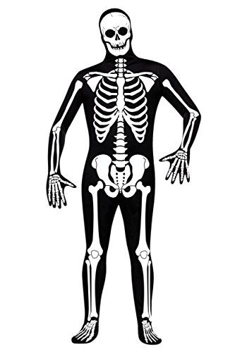 SecondSkin Men's Full Body Spandex/Lycra Suit, Skeleton, Large - Skeleton Costumes Spandex