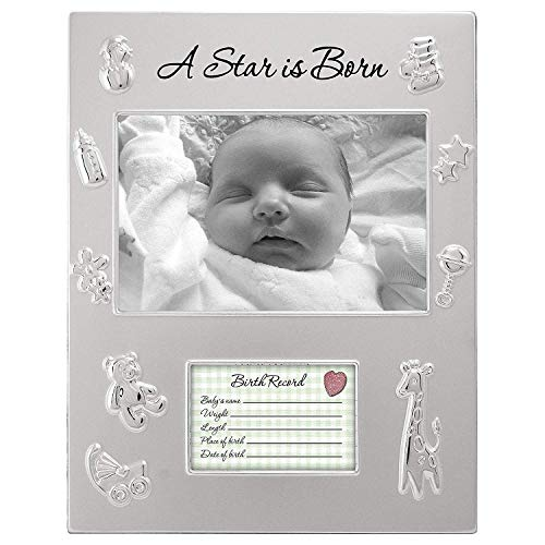 Malden International 4x6 A Star IS Born Picture Frame With Opening For Newborns Birth Records -