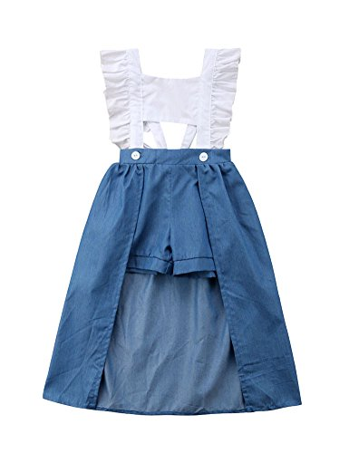 beBetterstore Girls Dovetail Dress Ruffle Sleeve Crop Top Denim Shorts Summer Outfits Clothes