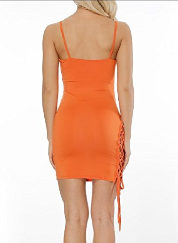 Coolred-femmes Creusent Cami Solide De Couleur Robes Clubwear Courte Orange,