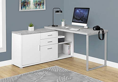 Monarch Specialties Computer Desk – 60 L White Cement-Look Left Right Face
