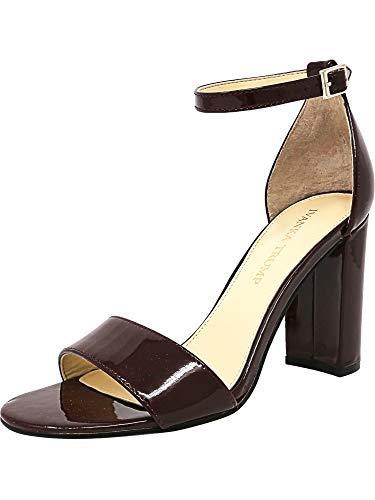 (Ivanka Trump Women's Klover Heeled Sandal, Dark Red Patent, 10 Medium US)
