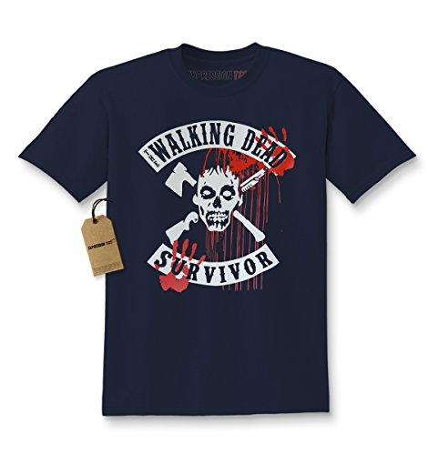 Expression Tees Kids The Walking Dead Survivor T-Shirt Small Navy Blue