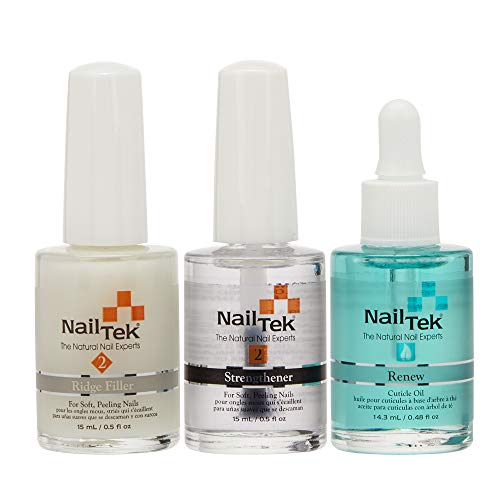 NailTek Nail Recovery Kit, Cuticle Oil, Strengthener, Ridge Filler - restore damaged nails in 3...