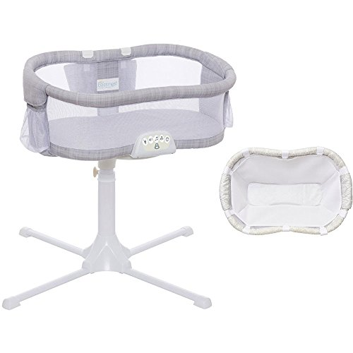 Halo Swivel Sleeper Bassinet Luxe Plus Series Gray Melange with Newborn Cuddle Insert – White Mesh For Sale