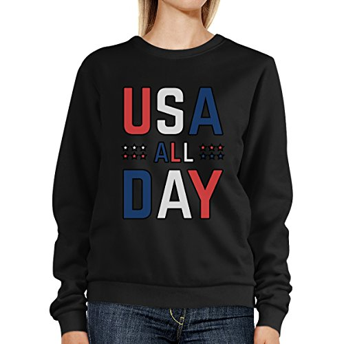 365 Printing - Sudadera - Manga Larga - para mujer USA All Day Black SweatShirt