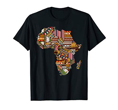 (African pride traditional ethnic pattern Africa map t-shirt )
