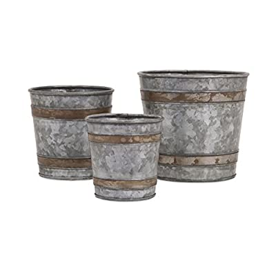 IMAX 84859-3 Becki Galvanized Pots Set of 3 - Lightweight Bucket Planter Set - Decorative Metal Pots for Hospitals, Hotels, Nurseries, Kitchen Gardens, Patios, Entryways, Workplaces: Home & Kitchen