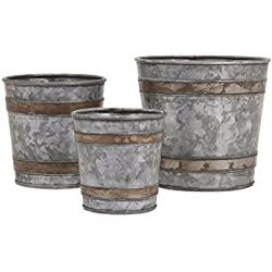 Imax 84859-3 Becki Galvanized Pots Set of 3 - Lightweight Bucket Planter Set - Decorative Metal Pots for Hospitals, Hotels, Nurseries, Kitchen Gardens, Patios, Entryways, Workplaces