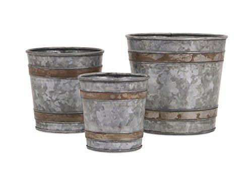 IMAX 84859-3 Becki Galvanized Pots Set of 3 - Lightweight Bucket Planter Set - Decorative Metal Pots for Hospitals, Hotels, Nurseries, Kitchen Gardens, Patios, Entryways, Workplaces