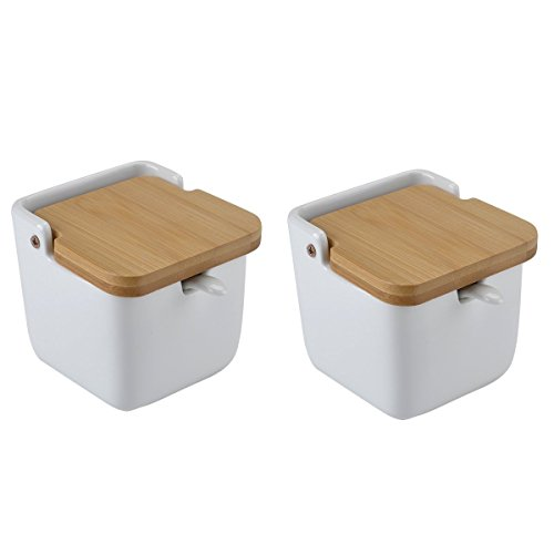 UName Set of 2 Seasoning Bowls with Spoon & Porcelain Base and Bamboo Cover (Square)UN270