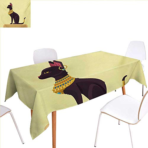familytaste Egypt Printed Tablecloth Antique Ancient Times Mystical Cartoon Style Cat with Earring Image Rectangle Tablecloth 70