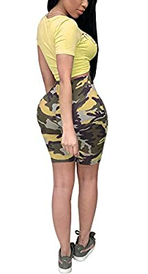 Women Two Piece Outfit Bodycon Jumpsuit Romper Clubwear Camouflage Crop Top Short Pants Set