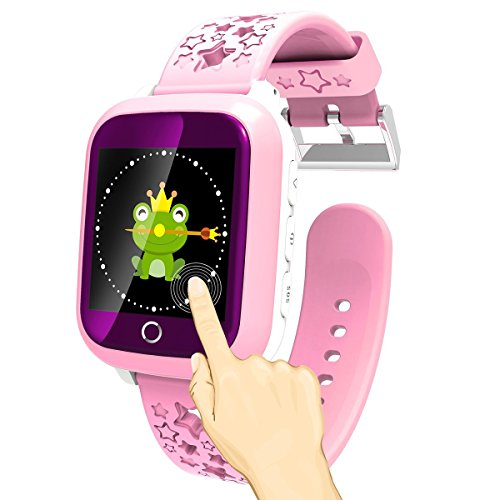 1.44'' Touch Screen Smart Watch Phone for Kids Waterproof GPS Tracker Fitness with SIM Slot SOS Children Smartwatch Safety Monitor Parent Control App for Smartphone (Pink)