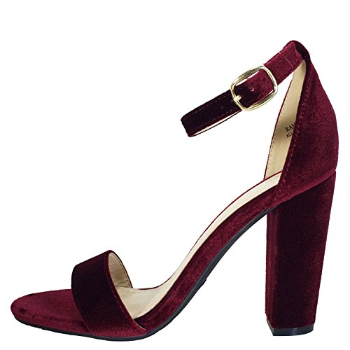 Ankle Women's With Strap Chunky Single Burgundy Velour Band Sandal BAMBOO Heel 0SqddO