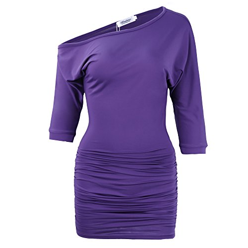 UPC 603717516194, Anxihanee Women's Sexy Off Shoulder Party Club Ruched Bodycon Mini Dress (XL, Purple)