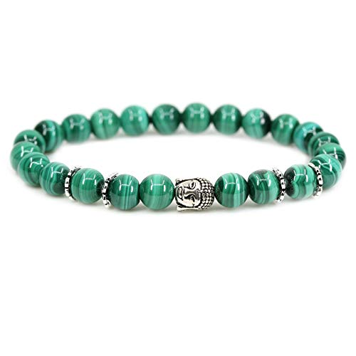 Natural A Grade Malachite with 925 Sterling Silver Buddha Head Gemstone 8mm Round Beads Stretch Bracelet 7