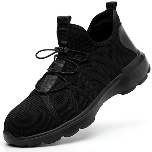 ESDY Steel Toe Work Shoes Mens Lightweight Breathable Puncture Proof Industrial Construction Shoes Safety Shoes 813 Black US9.5/EU43 ()