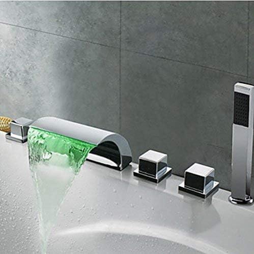 八瀬・王 ハンドヘルド付き蛇口LEDライト滝スパウトバスタブフィラー蛇口3つのノブミキサータップは、クロムスプレー、ホワイト