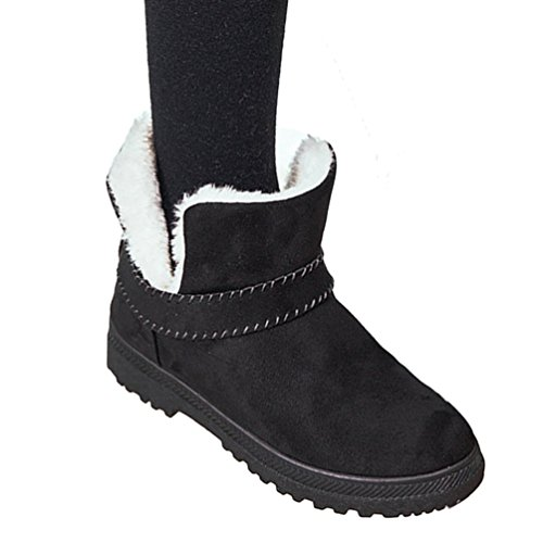 Baymate Mujer Clásicas Zapatos Botas De Nieve Slip on Invierno Calentar Falso Pelaje Aire Libre Boots Botines Black