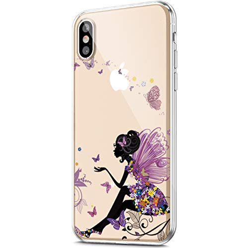 ikasus Case for iPhone X/iPhone Xs Case,Crystal Clear Art Panited Pattern Design Soft & Flexible TPU Ultra-Thin Transparent Flexible Soft Rubber Gel TPU Protective Case Cover,Butterfly Angel girl