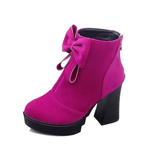 AgooLar Damen Blend-Materialien Rund Zehe Hoher Absatz Reißverschluss Rein Stiefel Rosa