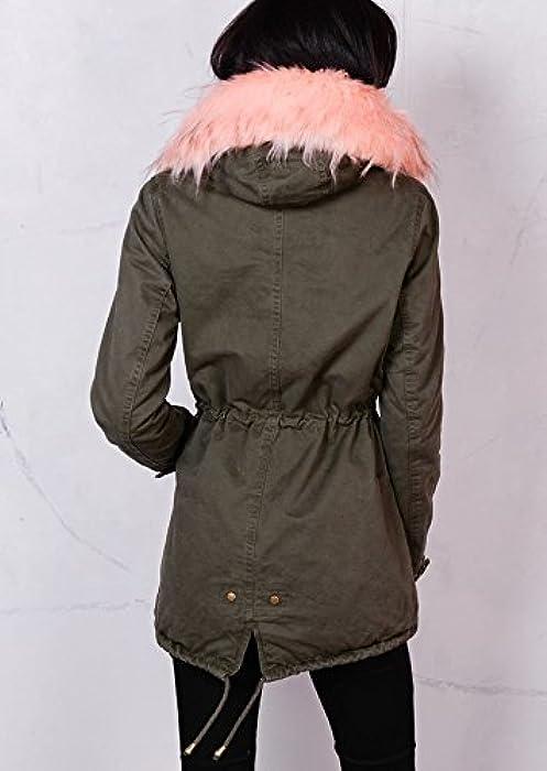 51b0d39182d9c Women's Pink/Grey Camo Padded Faux Fur Hooded Full Fleece Parka Coat Khaki  Green. Back. Double-tap to zoom
