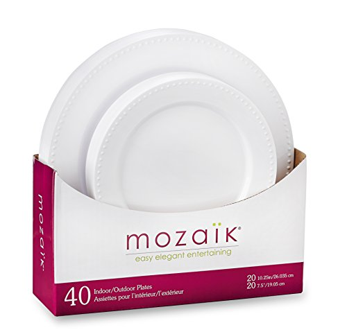 Mozaik MWPPL40-O Disposable Plates, White