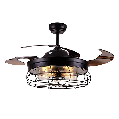 Ceiling Fan with Light 42 Inch Industrial Ceiling Fan Retractable Blades Vintage Cage Chandelier Fan with Remote Control, 5 Edison Bulbs Needed Not Included, Black