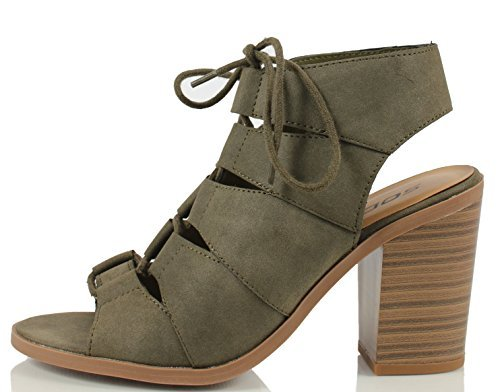 Soda Women's Quince Faux Leather Peep Toe Lace Up Gladiator Slingback Open Back Ankle Boot, Khaki, 8 M US