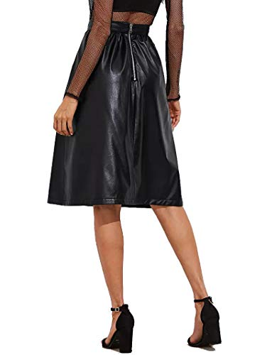 JOAUR Women's PU Leather Midi Skirt Pleated High Waist Skate Skirt with Pockets by JOAUR (Image #2)