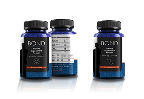 BOND Testosterone Booster Dietary Supplement Performance Enhancement for Men's Sexual Health - Increases Testosterone & Stamina Levels - Pay for ONE Month Get THREE Moths Supply - 180 Herbal Cupsules