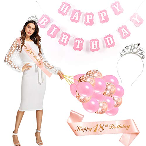 Feliz Cumpleaños 18TH,18tth Plata Cristal Tiara Corona de ...