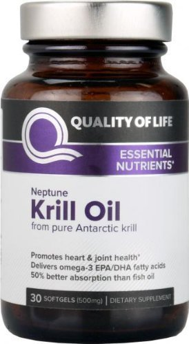 Quality of Life Neptune Krill Oil from Pure Antarctic Krill 500mg (30 Softgels) by Quality Of Life