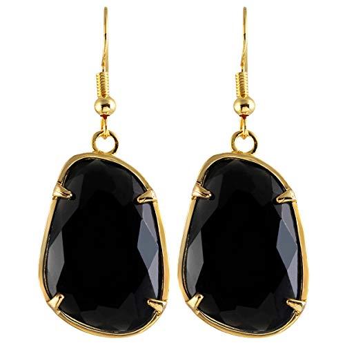 (TUMBEELLUWA Stone Dangle Earrings Healing Crystal Irregular Shape Faceted Hook Drop Earring Handmade Jewelry for)
