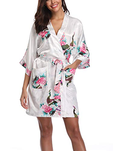 - UrHot Women's Short Floral Kimono Robe Peacock and Blossom Bathrobe for Wedding Party White
