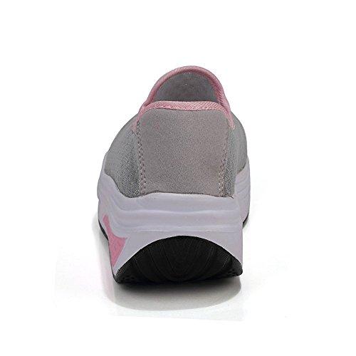 Yuanli Kvinna Mesh Slip På Kil Sneakers Bekväma Platåskor Grå