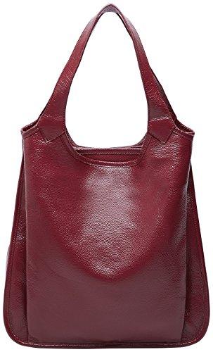 Main Sac Cuir Véritable Bandoulière Boyatu Mode Les Femmes Rouge À Dames tout Pour Sacs En Vin Grand Fourre PS4Stqp