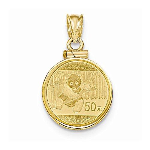 Mia Diamonds 14k Yellow Gold 1/10 oz Mounted Panda Coin Screw Top Coin (Mounted Panda Coin)