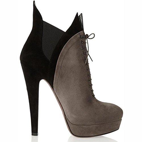 L@YC Damen Stiefel High-Heels Tie-Shields Hosen Hosen Hosen Frühling und Herbst Winter Stiefeletten / Brown Brown