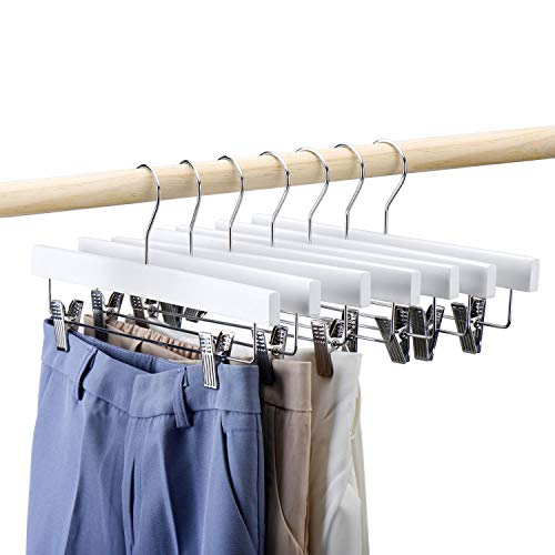 HOUSE DAY Wooden Pants Hangers 25pcs 14inch Wood Skirt Hangers Trousers Bottom Hangers with Adjustable Clips, 360 Swivel Hook, Premium Solid Wood, White Color Hangers Elegant for Closet Organization