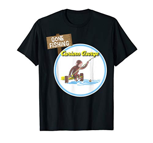 Curious George Gone Fishing Circle Logo Graphic T-Shirt -