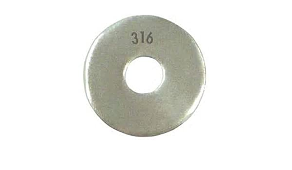 M2.5 Hole Size 2.7mm ID Plain Finish Pack of 100 0.5mm Nominal Thickness 316 Stainless Steel Flat Washer 6mm OD Meets DIN 125