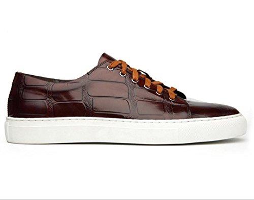 WZG occasionnels en cuir dentelle chaussures hommes cuir chaussures Les nouveaux hommes chaussures respirantes mode britannique chaussures de sport , wine red , 43
