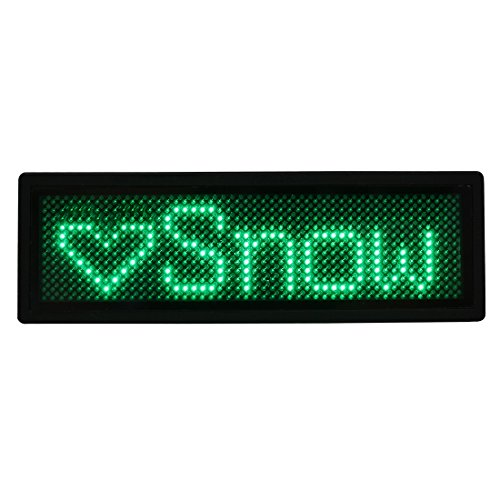 uxcell LED Badge Digital Scrolling Message Name Sign Display Portable Rechargeable US plug (Led Message Badge)