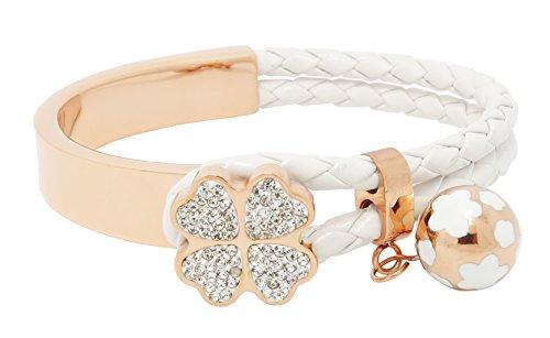 Titane Série Trèfle à quatre feuilles bracelet (Blanc) avec cristaux Swarovski fini or 18carats.