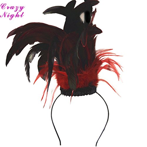 [Crazy Night Women's Black with Red Feather Headband] (Vegas Showgirl Costumes)